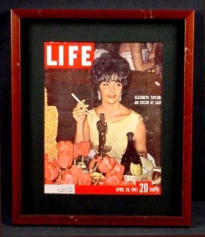 Glamorous Elizabeth Taylor Oscar LIFE 1961 Cover Framed
