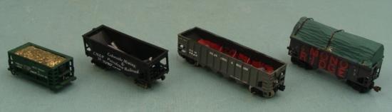 4 Hopper RR Train Cars N Scale CCW, CM & P, Gold Ore