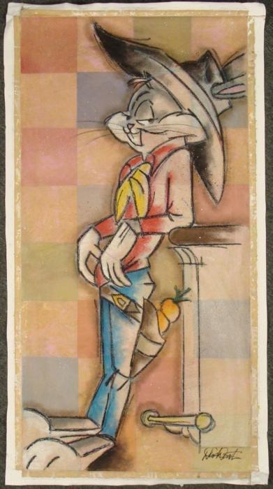 Dick Duerrstein Bugs Bunny Cowboy Orig Cartoon Painting