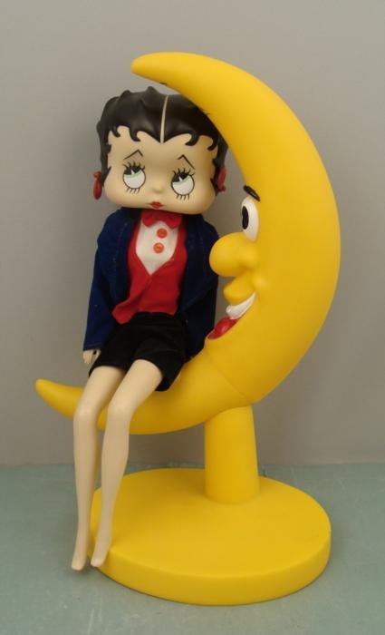Betty Boop Figurine On Crescent Moon