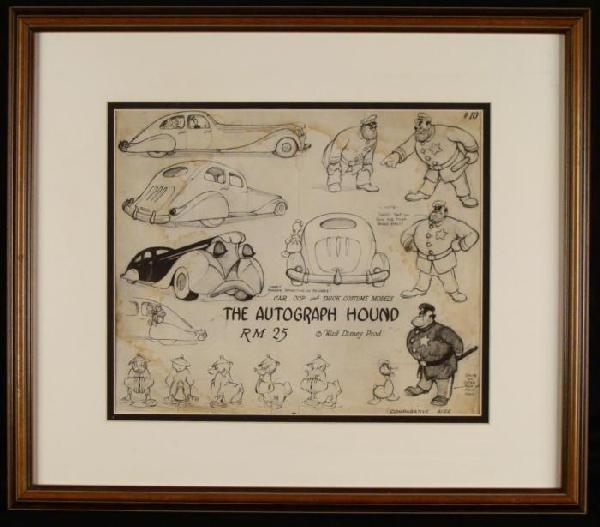Orig Disney Production Art Autograph  1939 Donald Duck
