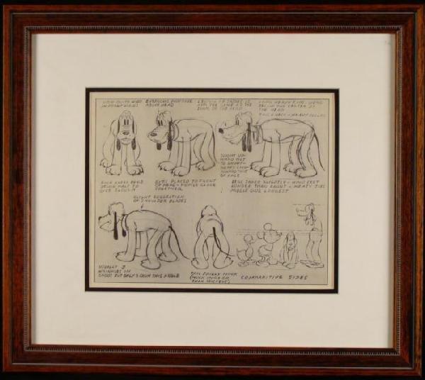 Original Disney Production Art Model 1939 Pluto Mickey