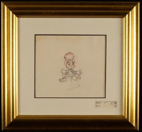 Orig Disney Production Drawing Jiminy Cricket Pinocchio