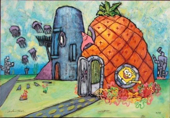 Sponge Bob Art Canvas Waterlogged Cabin Douglas Truth