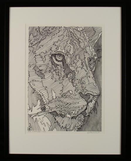 Guillaume Azoulay Original Lion Drawing Etude la Reine