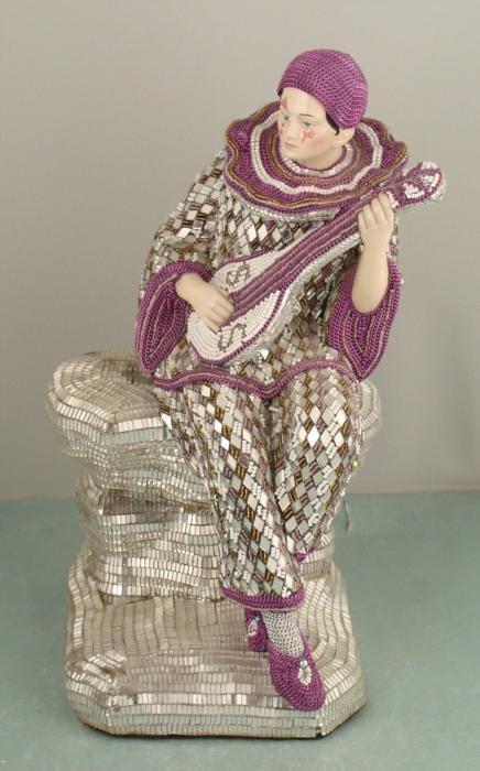 Mirror Mosaic Art Sad Clown Musician Sculpture Figure