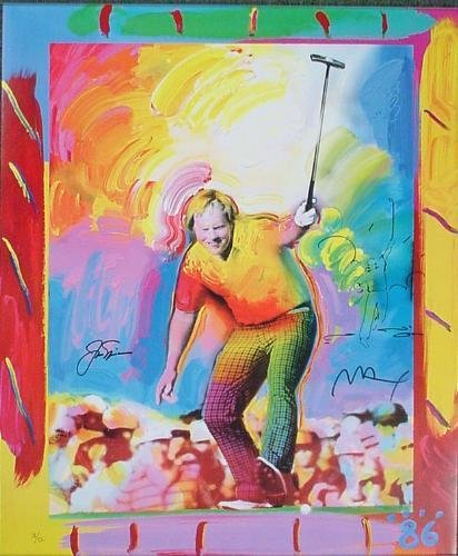 86 AT AUGUSTA Nicklaus Max Signed Pop Art Golf Remarque