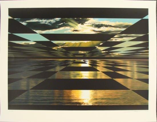 Frank Licsko BLACK AND GOLD Surreal Landscape Art Print