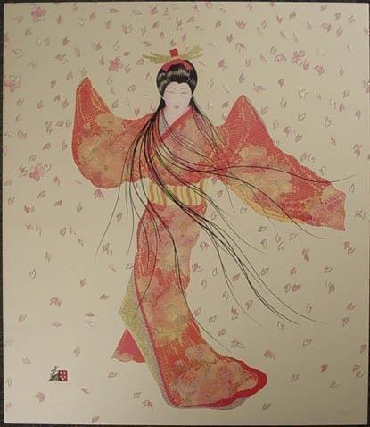 Opulent LADY FLOATING BLOSSOM Signed Otsuka Art Print