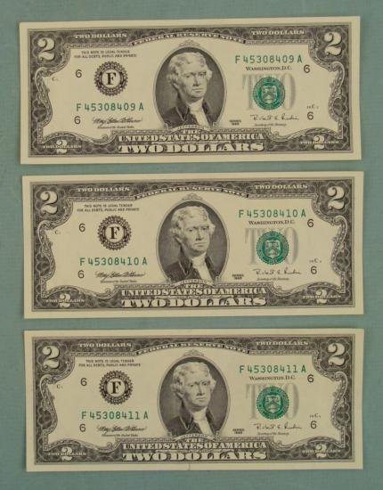 (3) Consec # 1995 $2 Bill Notes  F  Mint (Atlanta) CU