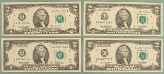 4 Consec # 2003 A $2 Bills G Mint Chicago Notes CU