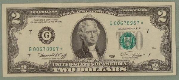 1976 $2 Star Note Two Dollar Bill Note G Mint Chicago