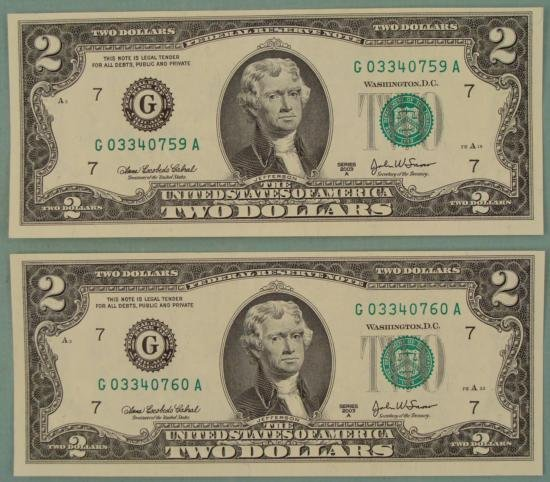 2 Consec # CU 2003 A $2 Bills Notes G Mint Chicago