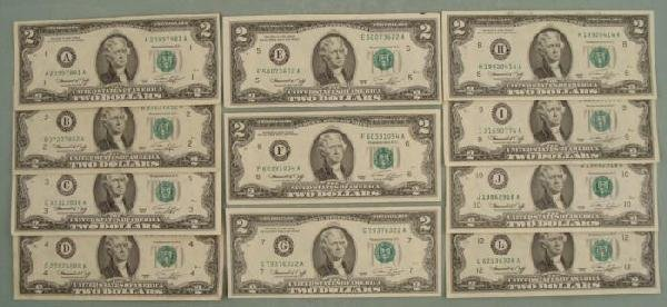 11 Diff Mint Mark 1976 $2 Bills Notes A-L (no K) Nice