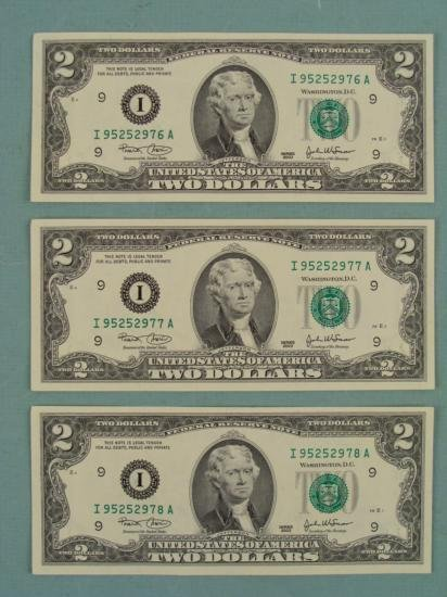 3) 2003 Consec # $2 Notes Two Dollar Bills I Mint MN CU