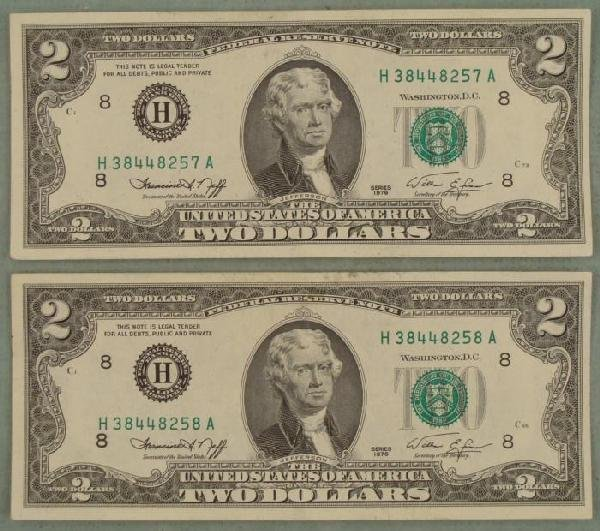 2 Consecutive 1976 $2 Bills Notes H Mint Mark St. Louis