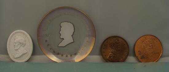 4 PC LINCOLN SET COMM PLATE 2 LARGE PENNIES WHITE CAMEO