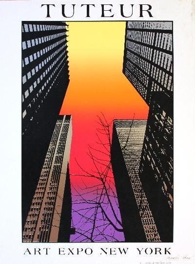Signed Tuteur Skyscrapers New York Serigraph