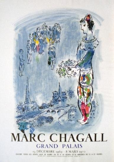 1970 Chagall Magician Of Paris Mourlot Litho