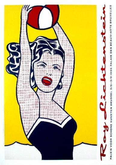 1995 Lichtenstein Girl With Ball Poster