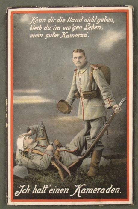 ORIGINAL WWI GERMAN POSTCARD OF A WOUNDED SOLDIER