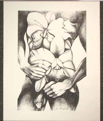 Rare Male Nude Signed Art Print Lowell Nesbitt