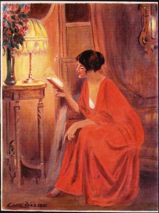 Carlos Dias Lady in Red w/ Book Print Hand Painted