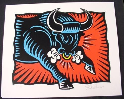 BULL Morris HERD ON Wall STREET Pop Art Stock Market