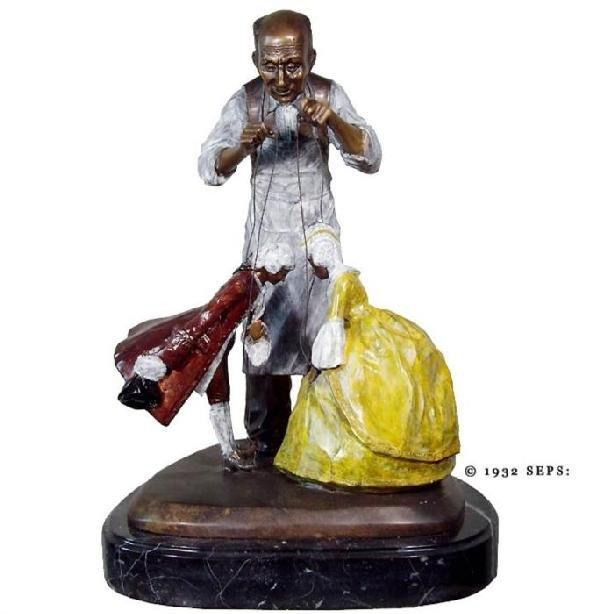 Norman Rockwell Ltd Ed Bronze Sculpture: The Puppeteer