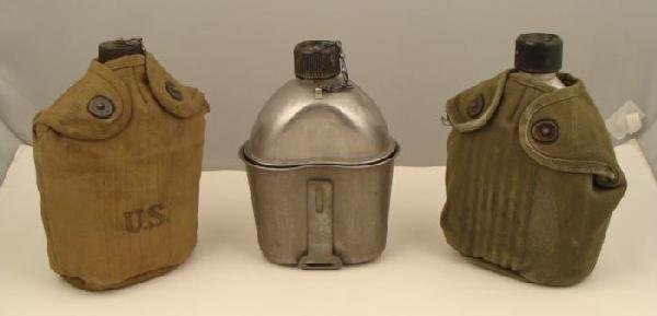 GROUP OF 3 CANTEENS-1942-1952-1963 2 W/CANVAS CARRIER