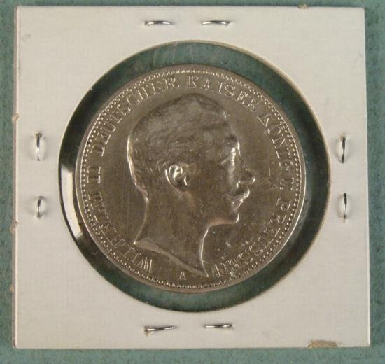 1908 A PRUSSIAN 3 MARK AU - UNC LARGE COIN SILVER