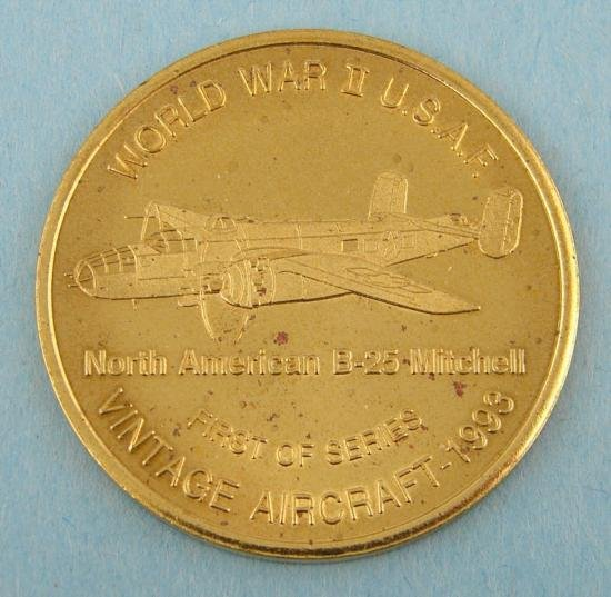 1993 Aviation Expo Medal WWII USAF B-25 Mitchell Plane