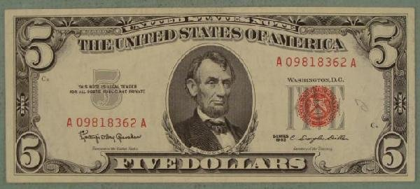 1963 $5 Red Seal Note Five Dollar Bill