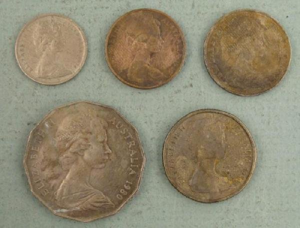 5 Different Australia Coins $1, 50,10,5,2 Cents 1966-84