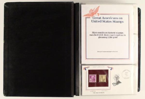 Great Americans Gold Replicas US Stamp Covers Book