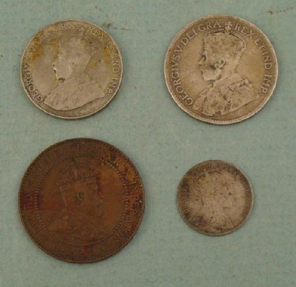 4 Canadian Coins 1, 5, 25 Cent 1909-1927