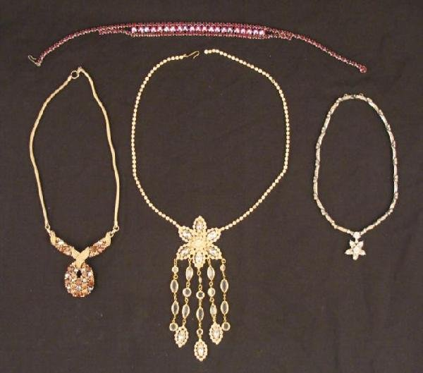 Vintage Rhinestone Necklace Lot Costume Jewelry