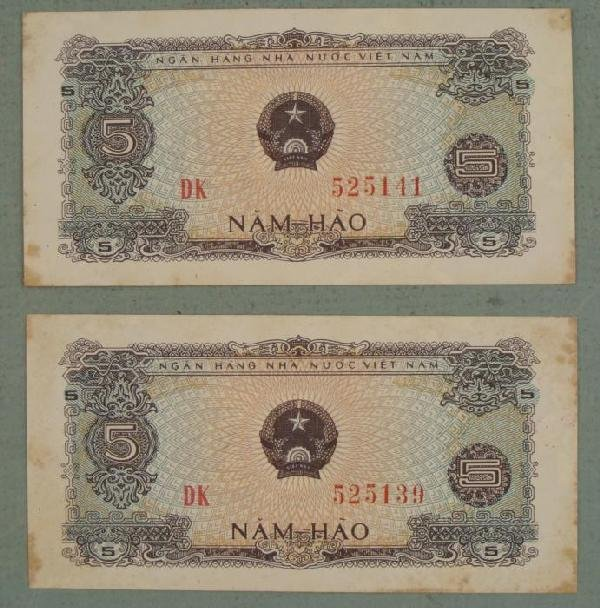 Two Vietnam Five Nam-Hao Paper Money Currency