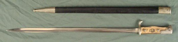 BEAUTIFUL M1898 GERMAN LONG BAYONET W/LEATHER SCABBARD-