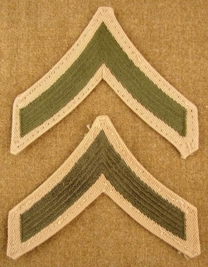 2 Pc Lot Rank Insignia Post-WW2 Patches Marine PFC