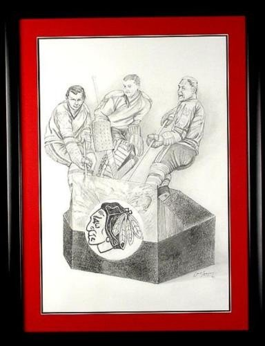 Original Blackhawk Hockey Drawing Mikita, Hull, Hall