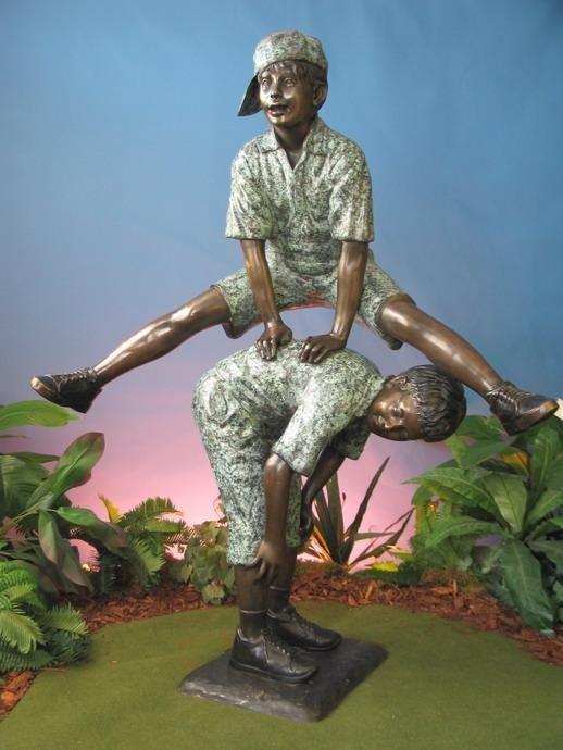 Two Boys Playing Leapfrog Pescara Sculpture Bronze