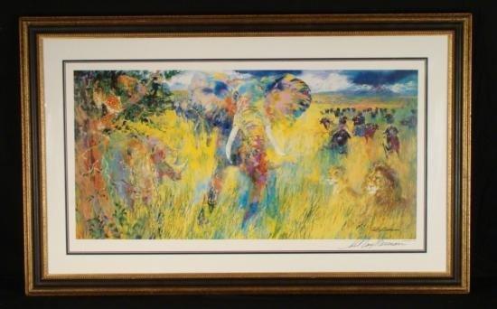 LeRoy Neiman Original Signed Print Big 5 Safari Art