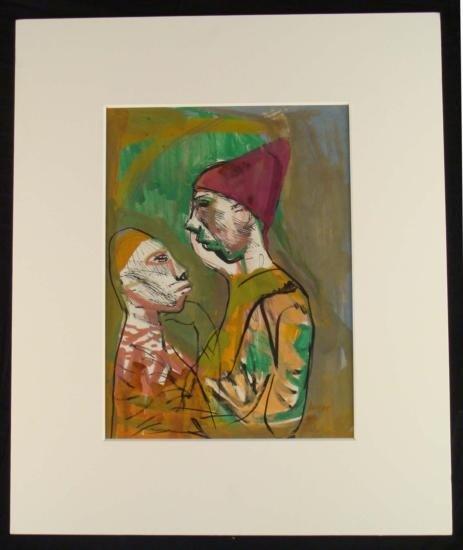 Josef Presser Signed Original Watercolor Art Clowns