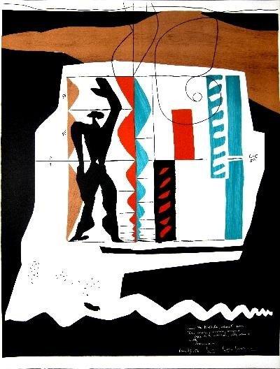 1956 Le Corbusier Modulor Mourlot Lithograph