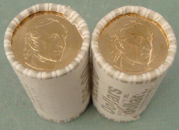 2 Wrapped Rolls 2009D Tyler Presidential Dollar 25 Coin