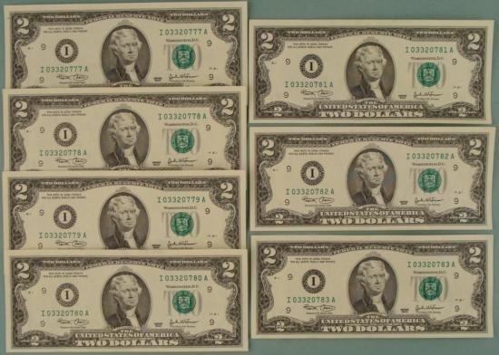 7 Consecutive # 2003 $2 Bills Notes  I  Minneapolis CU
