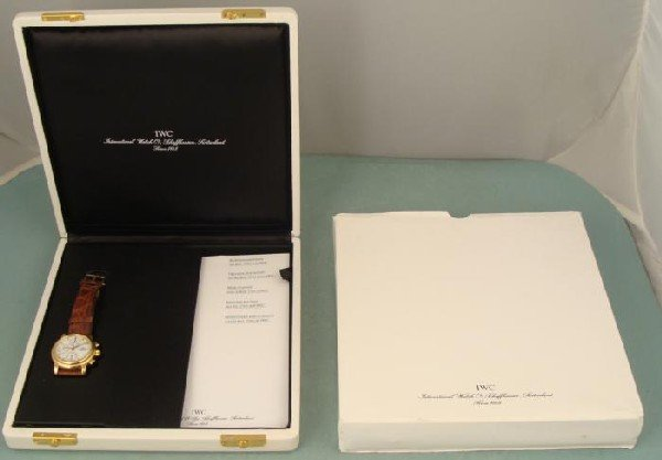 IWC 18K Gold Amalfi Chronograph Mens Watch Orig Box