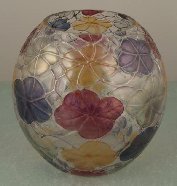 Colored Art Glass Globe Vase Round Vintage Crystal