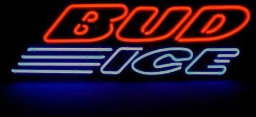 Bud Ice Neon Cool Budweiser Beer Red Blue Bar Sign Box